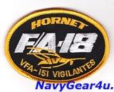 VFA-151 VIGILANTES F/A-18ショルダーオーバルパッチ(86年〜90年代/ベルクロ有無)