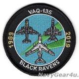 VAQ-135 BLACK RAVENS 2019部隊創設50周年記念ショルダーパッチ(ベルクロ有無)