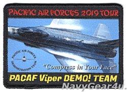 画像1: PACIFIC AIR FORCES F-16 DEMONSTRATION TEAM PACAF 2019ツアー記念パッチ(ベルクロ有無)
